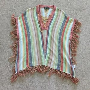 Colorful poncho sweater